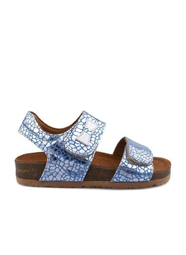 Cicibebe Crocodil Deri Kız Çocuk Sandalet Mavi